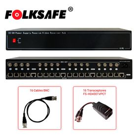 transceptor activo fshd4616vps12v folksafe con fuente de poder integrada combo hd 16 canales compatible con todas las marcas de
