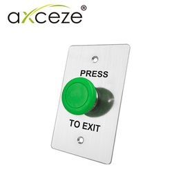 botón liberador axceze axb130 tipo push con forma de hongo en color verde fabricado en acero medidas 115x70x45mm conexion a 2 h