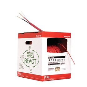 bobina de 152 metros de alambre  calibre 16 awg  en 2 hilos caja react tipo fplpcl3p resistente al fuego color rojo para sistem